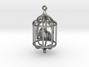 Bird in a Cage Pendant 02 in Interlocking Polished Silver