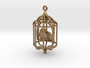 Bird in a Cage Pendant 02 in Natural Brass (Interlocking Parts)