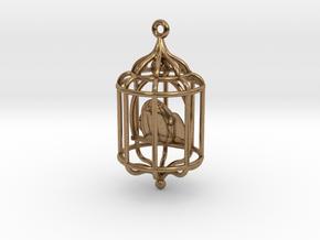 Bird in a Cage Pendant 02 in Interlocking Raw Brass
