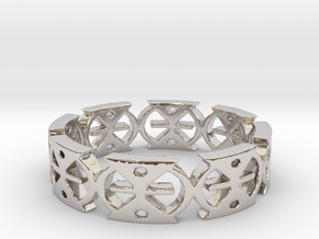 MMERE DANE (time changes) Ring Size 7 in Rhodium Plated Brass