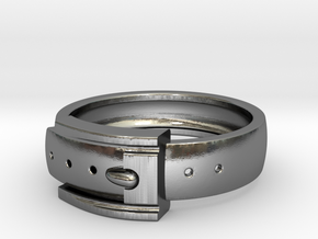 Belt Buckle Ring (Sizes 5 - 11.5) (Customisable) in Polished Silver: 11 / 64