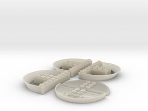 Popa 8 puntos (x3) + placa + puente in White Acrylic