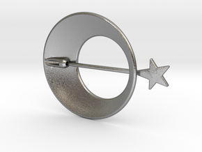 Eclipse With Shooting Star Brooch in Natural Silver (Interlocking Parts)