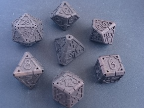 Vertex Dice RPG Set and Singles in Matte Bronze Steel: Polyhedral Set