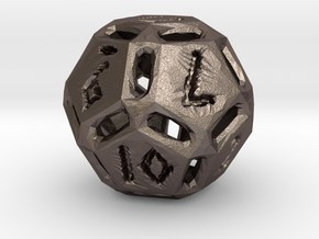 Rough Poly D12 in Polished Bronzed Silver Steel
