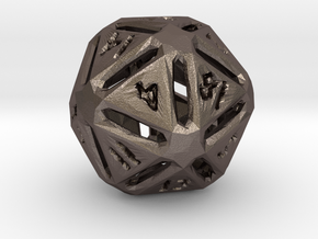 Rough Poly D20 in Polished Bronzed Silver Steel