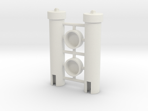 Power Cell Cylinders Pair in White Natural Versatile Plastic