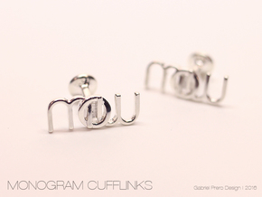 Monogram Cufflinks MWO in Polished Silver