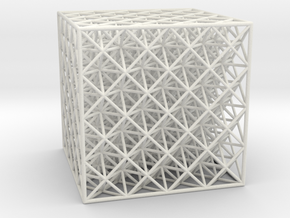 Octet Truss Cube (4x4x4) in White Natural Versatile Plastic