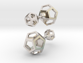 Dodecahedron cufflinks in Rhodium Plated Brass