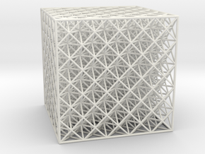 Octet Truss Cube (5x5x5) in White Natural Versatile Plastic