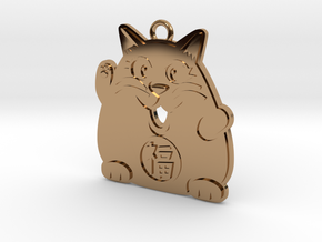 Lucky Cat Keychain in Polished Brass