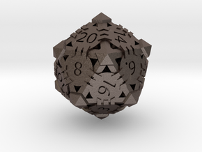 D20 - Andrew Bell 3d - Geometric Design 1 in Polished Bronzed Silver Steel