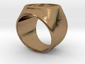 Riga signet Ring 16.5mm diameter in Natural Brass