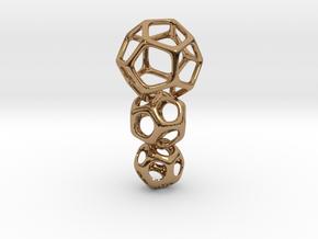 Interlocked Platonic Pendant - 3pts in Polished Brass (Interlocking Parts)