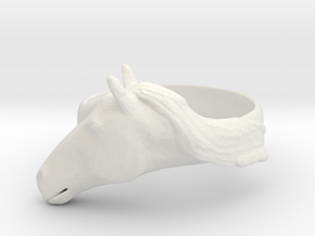 Horse Ring - Unspecified Size in White Natural Versatile Plastic