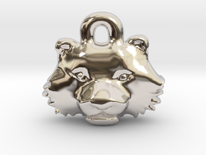 Tiger Face Pendant Charm in Rhodium Plated Brass