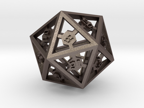 D20 Hexagon Dice Complete  in Stainless Steel