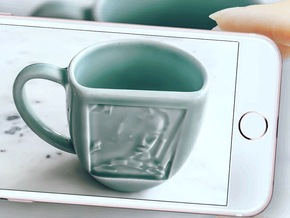 Celadon Selfie Mug (Right Handle) in Gloss Celadon Green Porcelain