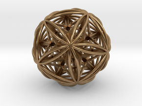 """Icosasphere w/Nest Stellated Dodecahedron 1.8"""" in Natural Brass"""