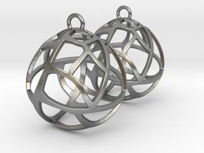 Earrings Spherical Mesh in Natural Silver
