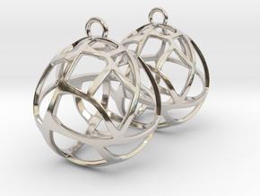 Earrings Spherical Mesh in Rhodium Plated Brass