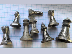 Chess shaped Dice (hollow) in Polished Nickel Steel: Polyhedral Set