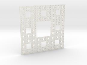 Sierpinski carpet Level 4 in White Natural Versatile Plastic