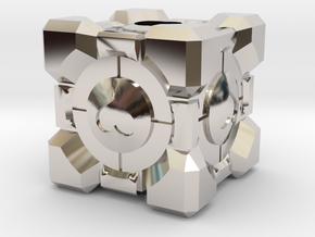 Companion Cube Lanyard Bead in Rhodium Plated Brass