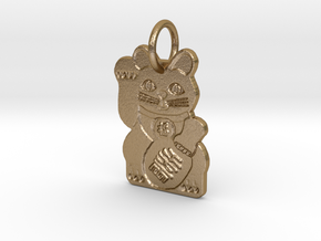 Maneki Neko RIGHT Paw Beckoning Lucky Cat in Polished Gold Steel