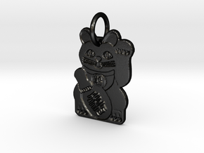 Maneki Neko LEFT Paw Beckoning Lucky Cat in Matte Black Steel