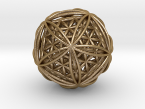 Icosasphere w/ Nested Flower of Life Icosahedron in Polished Gold Steel