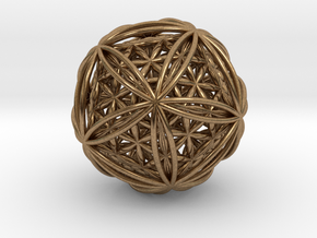 """Icosasphere w/Nest Flower of Life Icosahedron 1.8"""" in Natural Brass"""