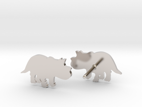 Triceratops Baby Earrings in Rhodium Plated Brass