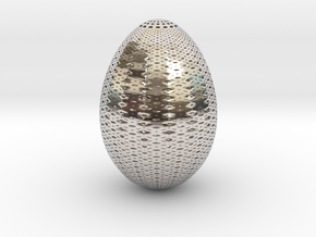 Designer Egg 3 in Rhodium Plated Brass