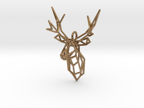 Stag Deer Facing Forward Pendant  in Natural Brass