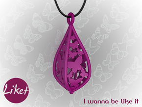 Butterfly freedom pendant in Purple Processed Versatile Plastic