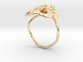 Lotus Ring in 14k Gold Plated Brass: 4 / 46.5