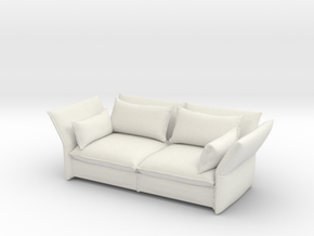 Miniature Mariposa 2 & 1/2 Seater Sofa - Barber Os in White Natural Versatile Plastic: 1:24