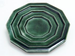 Curl Cup (saucer) in Gloss Oribe Green Porcelain