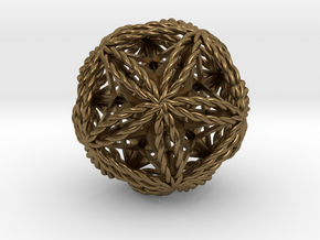 Twisted Icosasphere w/nest Stellated Dodecahedron in Natural Bronze