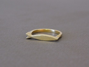 Fish Ring in Natural Brass: 8 / 56.75