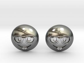 Nerd Emoji in Polished Silver
