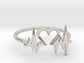 Heart Ring in Rhodium Plated Brass