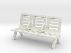 Modern Seat - Type 3 - 00 Scale in White Strong & Flexible