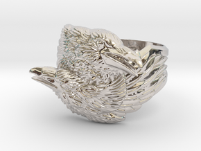 Two Ravens Ring in Rhodium Plated Brass: 11.5 / 65.25