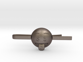 Money Tie Clip in Polished Bronzed Silver Steel