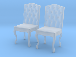 Tufted Dining Chair Set Of 2 in Smooth Fine Detail Plastic: 1:48