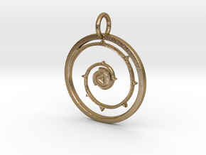 Steven Universe Rose's Shield Pendant with loop in Polished Gold Steel