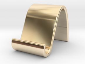 landschape & portrait phone stand 'Wave' in 14K Yellow Gold